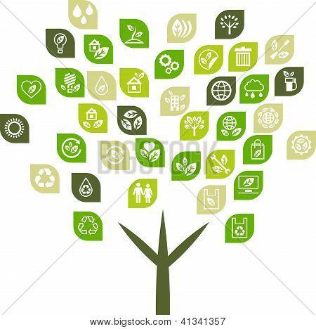 Tree background of eco web icons.