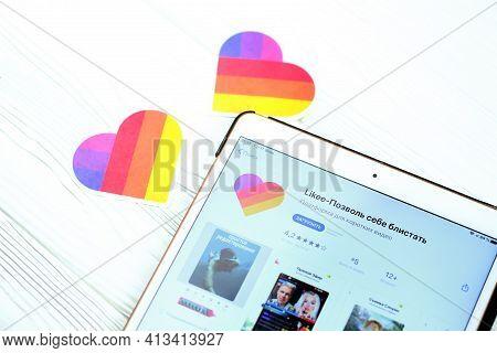 Kharkov, Ukraine - February 14, 2021: Likee App In App Store Market On Ipad Display Screen. Likee Is