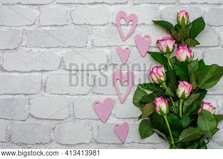 Picture Bouquet Decoration From Fresh Rose Petals And Pink Hearts. Flat Template For Valentine's Day