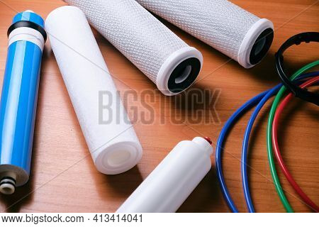 Reverse Osmosis Filter Set. Replacement And Maintenance Of Water Filtration Equipment.