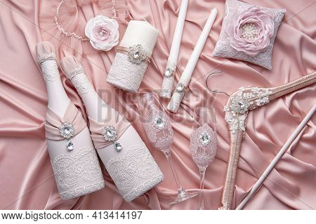 Luxurious Wedding Set Consisting Of A Pillow For Wedding Rings, A Hanger For A Brides Dress, A Garte