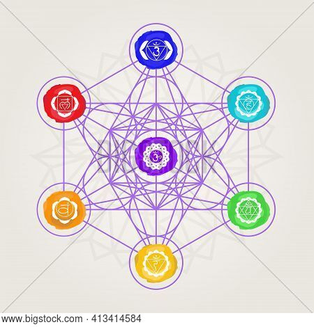 Geometric Metatron With Seven Chakras In Color