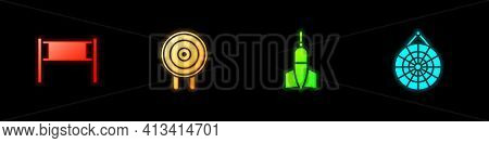 Set Volleyball Net, Target Sport, Dart Arrow And Classic Dart Board Icon. Vector