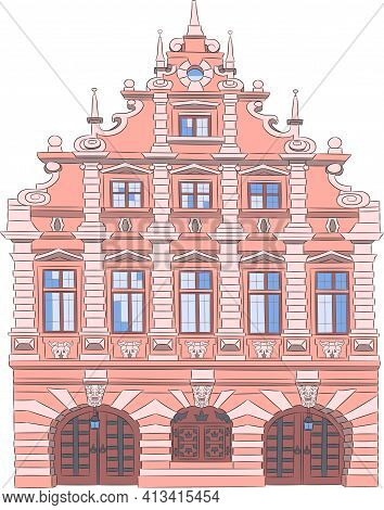 A Beautiful Pink Multi-storey Building In The Historical Part Of Brussels.