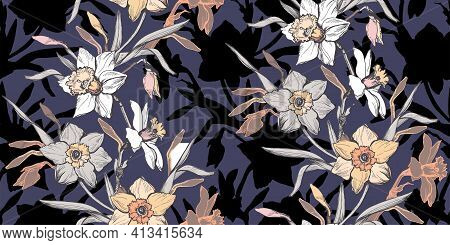 Botanical Seamless Pattern With Elegant Ink Hand Drawn Flowers Narcissus, Daffodils. Realistic Flora