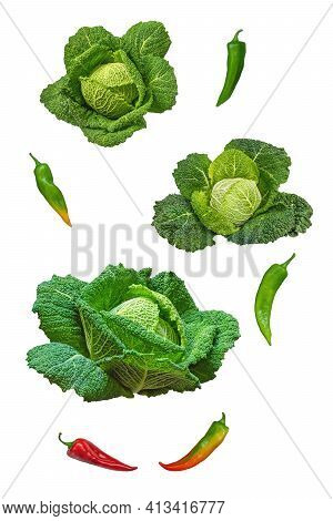 Vegetables, Healthy Food. Savoy Cabbage And Bell Peppers Isolated On White Background.