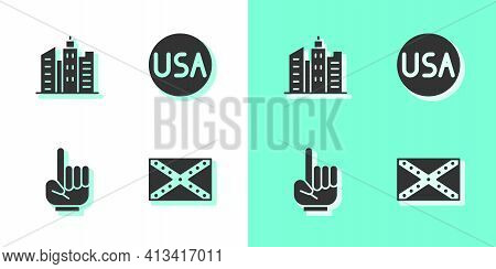 Set Flag Confederate, City Landscape, Number 1 One Fan Hand Glove And Usa Label Icon. Vector