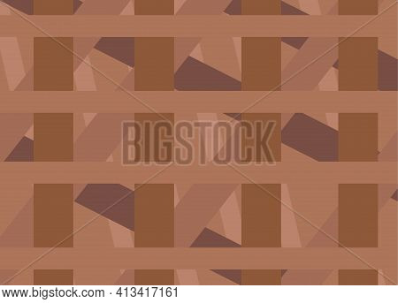 Brown Background Of Chaotically Intertwined Stripes. Vector Illustration