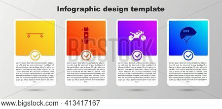 Set Longboard Or Skateboard, , Motorcycle And Bicycle Helmet. Business Infographic Template. Vector