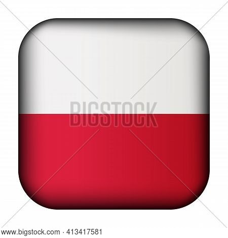 Glass Light Ball With Flag Of Poland. Squared Template Icon. Polish National Symbol. Glossy Realisti