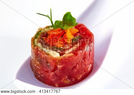 Italian Beef Gourmet Tartare With Vegetables. Shallow Dof