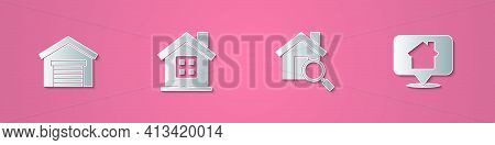 Set Paper Cut Garage, House, Search House And Location With Icon. Paper Art Style. Vector