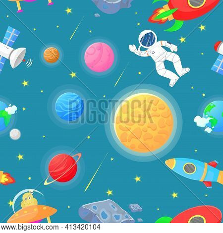 Cosmic Fabric For Kids. Astronaut With Rocket And
