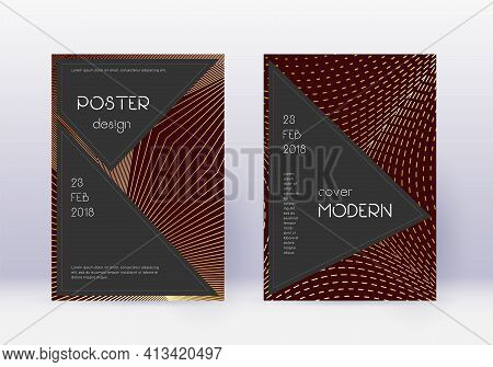 Black Cover Design Template Set. Gold Abstract Lin