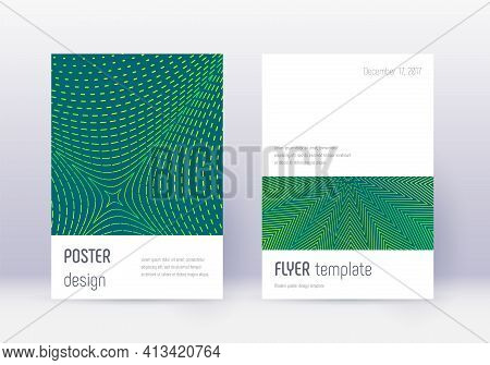 Minimalistic Cover Design Template Set. Green Abst