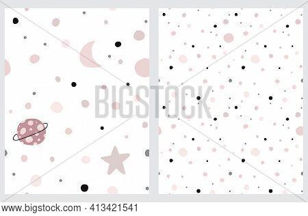 Cute Cosmos Seamless Vector Patterns. Irregular Hand Drawn Galaxy Print For Fabric, Textile, Card. I