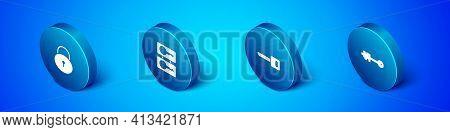 Set Isometric Lock, Key, Old Key And Casting Keys Icon. Vector