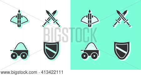 Set Shield, Battle Crossbow With Arrow, Wooden Four-wheel Cart And Crossed Medieval Sword Icon. Vect