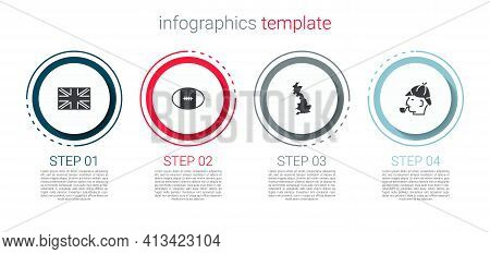 Set Flag Of Great Britain, Rugby Ball, England Map And Sherlock Holmes. Business Infographic Templat