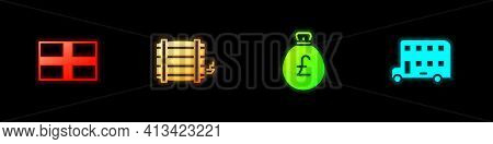 Set Flag Of England, Wooden Barrel, Money Bag With Pound And Double Decker Bus Icon. Vector
