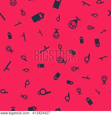 Set Whistle, Police Assault Shield, Rubber Baton And Location Peace On Seamless Pattern. Vector