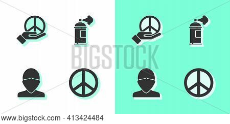 Set Peace, , Vandal And Paint Spray Can Icon. Vector
