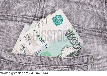 Paper 1000 Banknotes Of Russian Rubles In A Jeans Pocket, Inflation Rate Concept
