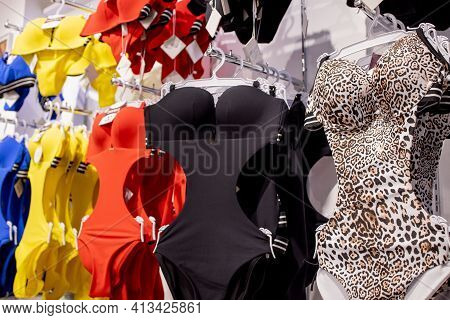 Womens Swimsuit In The Store. Fashionable Swimsuits Are Continuous