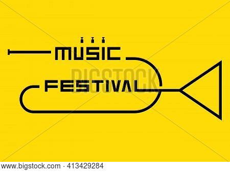 Music Poster Design Template Background Decorative With Outline Trumpet. Design Element Template Can