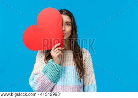 Romantic Gesture, Love And Valentines Day Concept. Dreamy Attractive Girlfriend In Winter Sweater, C