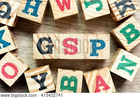 Alphabet Letter Block In Word Gsp (abbreviation Of Good Storage Practice Or Generalized System Of Pr