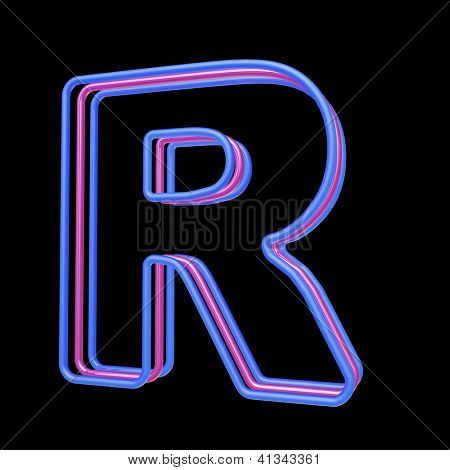 3D neon alphabet, letter R isolated on black background poster