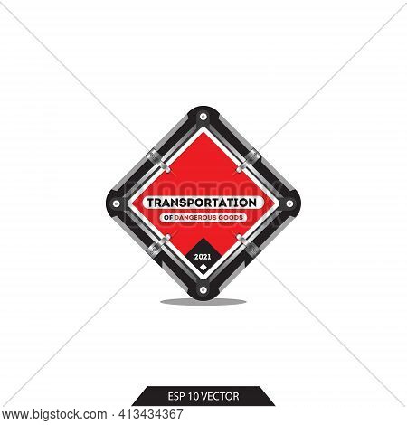 Transportation Of Dangerous Goods 2021. Sign For A Car Carrying Dangerous Goods. Transport Marking.