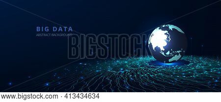 Big Data Network Visualization Concept.vector Big Data Visualization. 3d Round With Wave Lines Movin