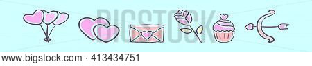 Set Of Wedding Or Valentine Cartoon Icon Design Template With Various Models. Modern Vector Illustra