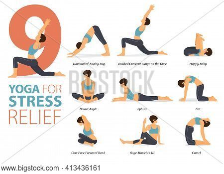 Infographic 9 Yoga Poses For Workout In Concept Of Stress Relief In Flat Design. Women Exercising Fo