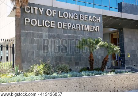 Long Beach, California - USA - March 15. 2021: Long Beach California, Police Station building entrance. Editorial Use Only.