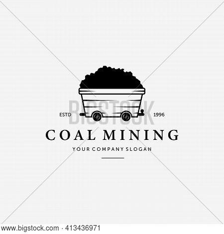 Simple Vintage Mine Cart Logo, Illustration Design Of Mining Trolley Concept, Vector Of Flat Sand Mi
