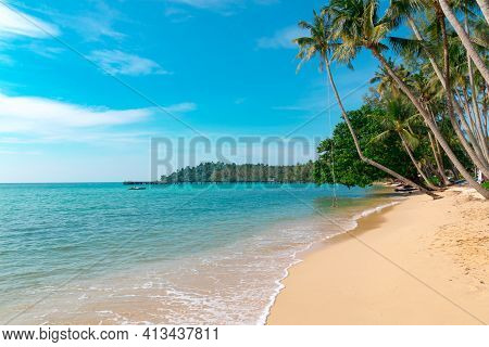 Koh Kood Island Is Emerald Green Sea In The Clear Blue Sky During The Day Time. Koh Kood, Trat Provi