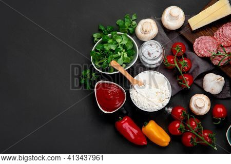 Italian Pizza Preparation. Variety Of Traditional Cooking Ingredients.