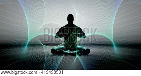 Body and Mind Meditation Background with Energy Aura 3d Render
