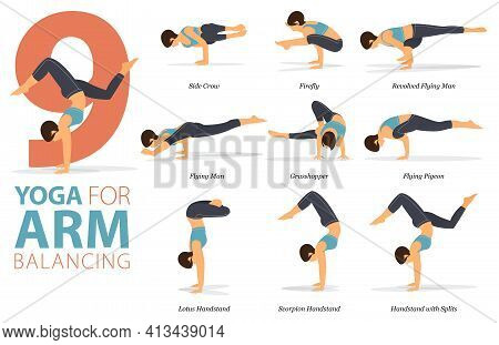 Infographic 9 Yoga Poses For Workout In Concept Of Arm Balance In Flat Design. Women Exercising For