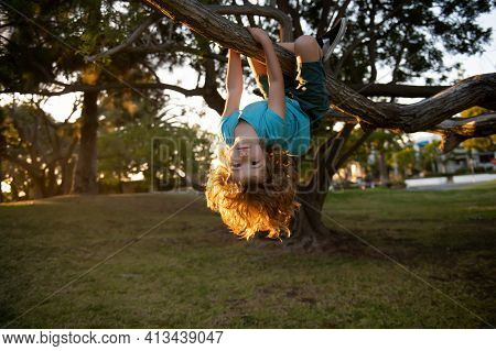 Funny Active Little Blond Kid Enjoying Climbing On Tree. Toddler Child Learning To Climb, Having Fun