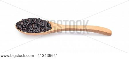 Rice Berry Rice In Wooden Spoon. Organic Brown Rice In Wooden Spoon, Jasmine Brown Rice, Healthy Foo