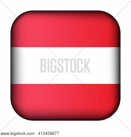 Glass Light Ball With Flag Of Austria. Squared Template Icon. Austrian National Symbol. Glossy Reali