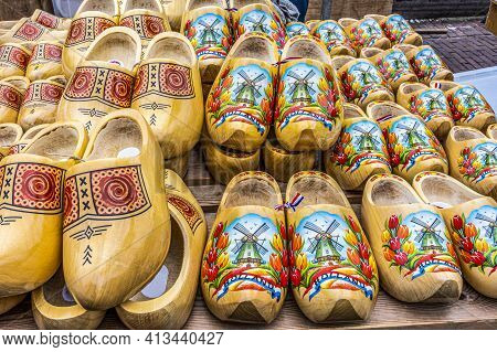 Alkmaar, Netherlands - May 18, 2018: Cheese Market Swedish Shoes As Souvenirs