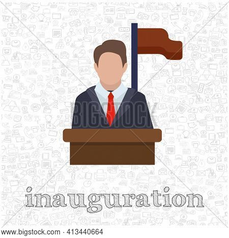 Speaker Icon. Orator Speaking From Tribune Isolated Vector Flat Illustration. Inauguration Design El