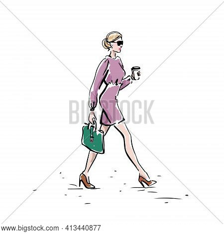 Businesswoman Hand Drawn On A White Background. A Girl With A Coffee And A Briefcase Goes To Work. V