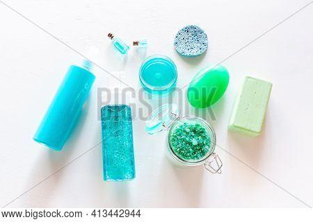 Soap, Cream, Bath Salt - Organic Cosmetics On White Background