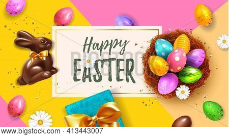 Festive Yellow Happy Easter Blue Horizontal Web Banner. Realistic 3d Spring Holiday. Easter Colored